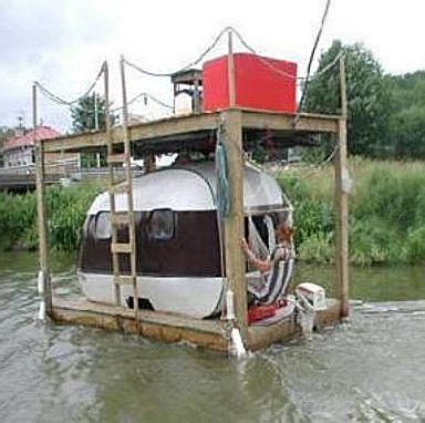 hillbilly boat holy floating redneck awesome a floating teardrop trailer