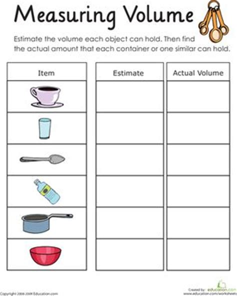 Measuring Volume How Much Liquid Can It Hold Worksheet | measuring volume how much liquid can it hold language