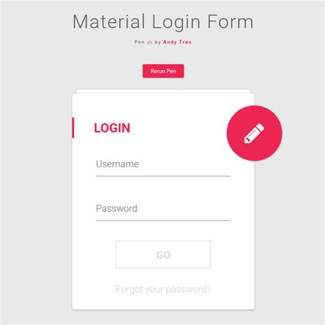 material design html it material login form coding animation buttons code css css3