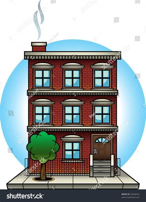 Cartoonstyle Vector Illustration Brick Apartment Building