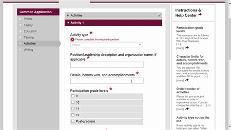 how to fill out for section 8 common application walkthrough part 6 activities youtube
