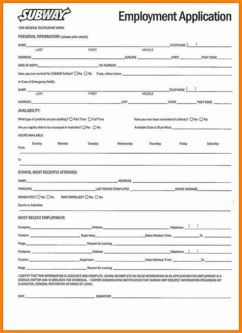 printable job application subway job application form subway image collections form