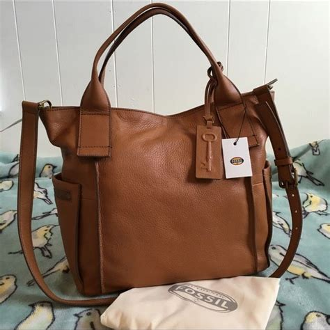 Tas Fossil Emerson Patchwork Pink fossil emerson satchel camel nwt leather crossbody brand new with tags and dust bag flawless