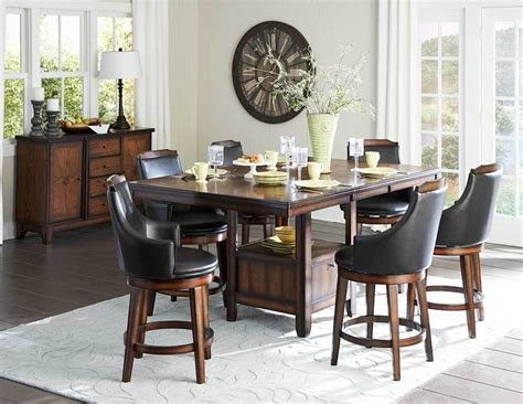 Pub Dining Room Table Sets Counter Height Burnished Dining Table Swivel Pub Chairs Diningroom Furniture Set Ebay