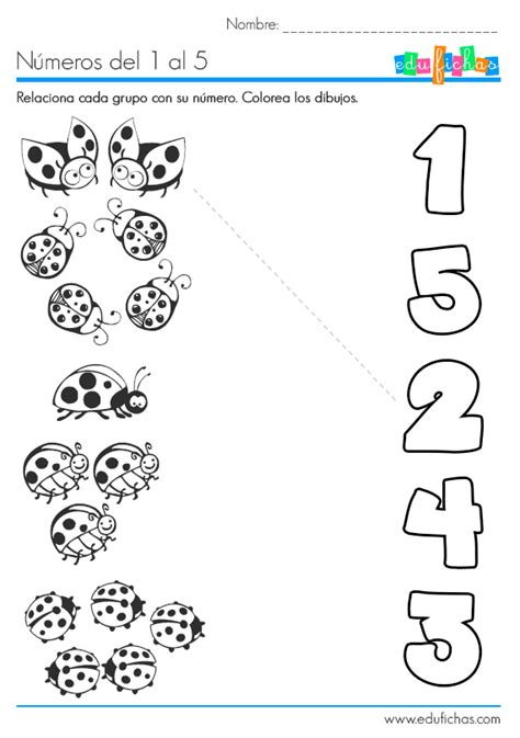 Ficha para aprender los números del 1 al 5. Aprender a