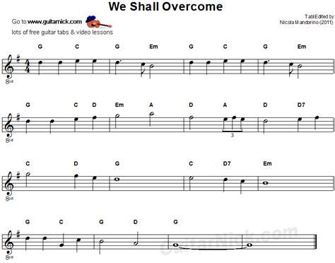 song guitar we shall overcome easy guitar tab guitarnick