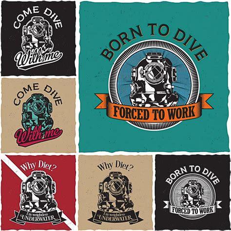 diver  shirt labels design print