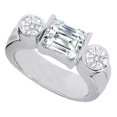 engagement ring horizontal emerald cut engagement