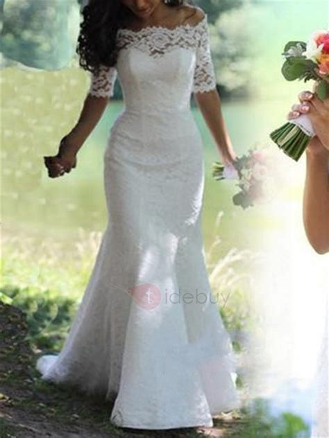 Shoulder Lace Wedding Dress the shoulder lace mermaid wedding dress tidebuy