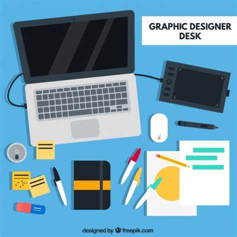 graphic design desk graphic designer desk flat elements vector premium