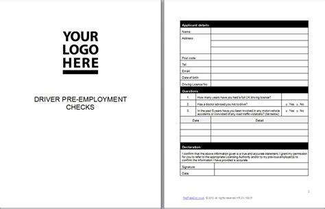 Pre Check Background Check Driver Pre Employment Checks Template Document Redtapedoc