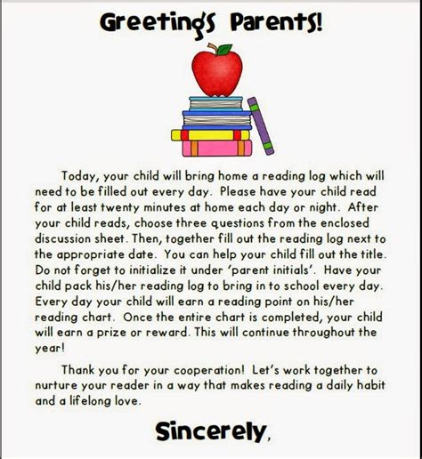 Parent Letter Home About Reading Imagine That Get Your To Read All Year