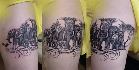 elephant tattoo on thigh animal tattoo ideas