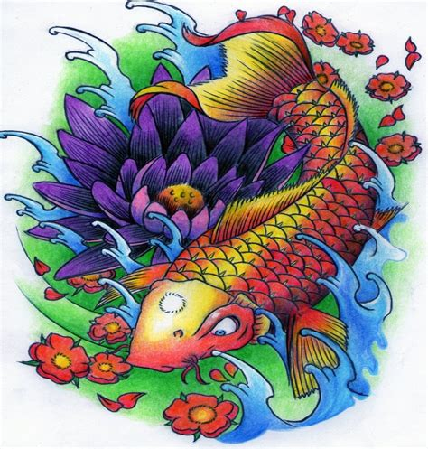koi fish and lotus flower tattoo designs severe koi fish and gigant violet lotus flower