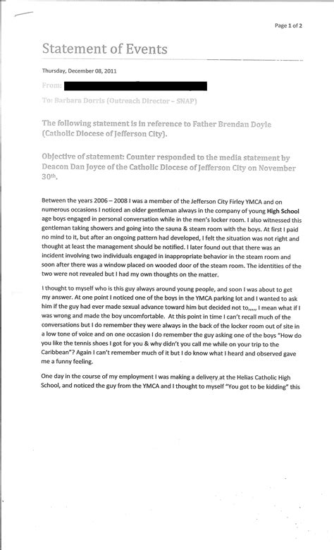 Explanation Letter Of Shortage Letter To Snap From A Whistleblower About Fr Doyle Snap
