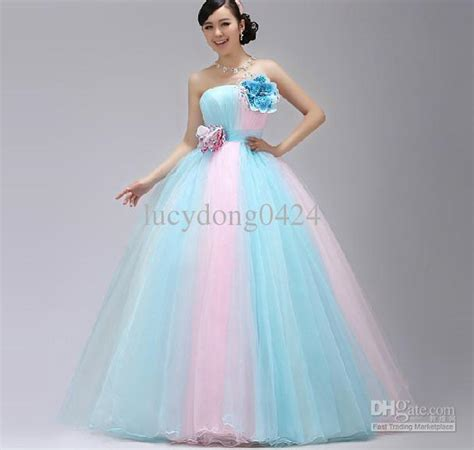 Drss 899 Dress Lace Pink discount stunning a line strapless light sky blue and pink