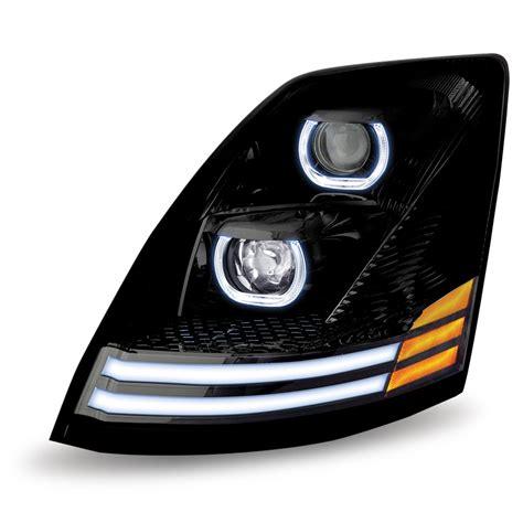 volvo truck headlights volvo vnl black led projector headlight driver side