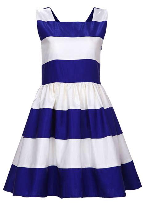Blue Stripe S M L Dress 44985 royal blue striped dress happiness boutique