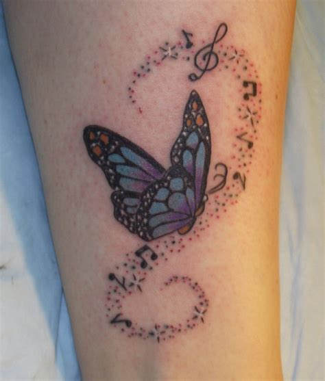 butterfly music note tattoo designs butterfly with notes on leg tattooshunt