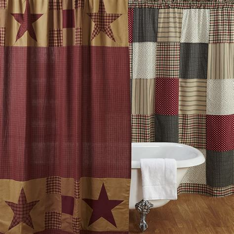 Country Bathroom Curtains Ninepatch Shower Curtain With Patchwork Borders 72 Quot X 72 Quot