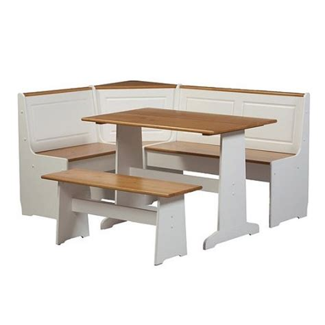 booth bench 3 pc white wood top breakfast nook dining set corner booth