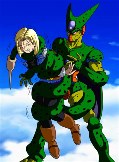 android 18 and cell cell squeeze android 18 from z by by elmonais on deviantart