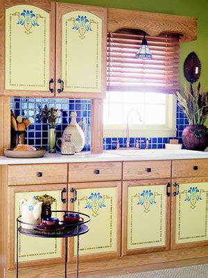 kitchen stencils designs painted and stenciled kitchen cabinets hooked on houses