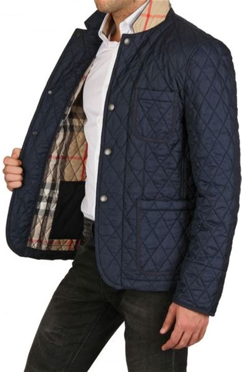 burberry brit quilted jacket in blue for navy lyst