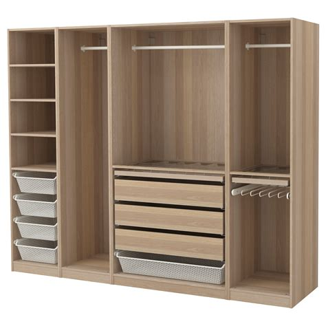 pax wardrobe white stained oak effect 250x58x201 cm ikea