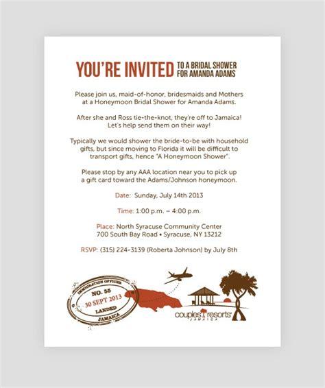 Honeymoon Bridal Shower Invitation Wording by Honeymoon Bridal Shower Invitation Customize Yours Today