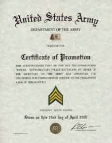 army promotion certificate template army promotions certificates