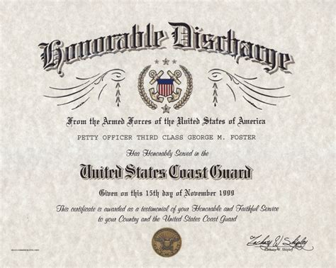 honorable discharge certificate template u s coast guard honorable discharge certificate