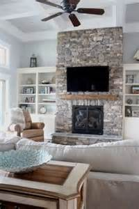 Month lake house reveal www simplestylings com stone fireplace open
