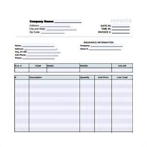 repair receipt template sle auto repair invoice templates 7 free
