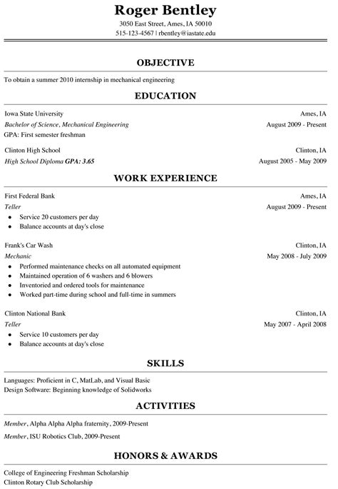 sle resume for a freshman college student freshman college student resume sle cover latter sle student resume and