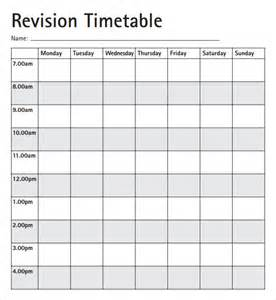 Blank Revision Timetable Template by Revision Timetable Template Blank
