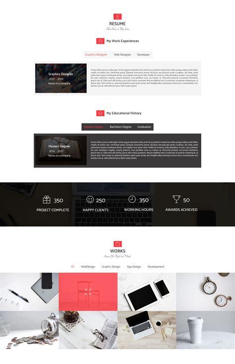 resume personal portfolio web template html resume website templates codester
