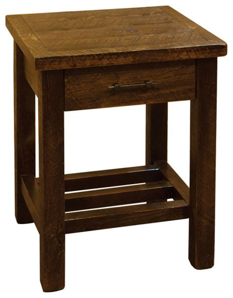 rustic barn wood style timber peg 1 drawer end table
