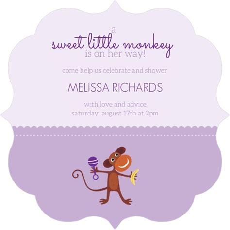 Purple Monkey Baby Shower Theme by Two Tone Purple Monkey Baby Shower Invitation Baby
