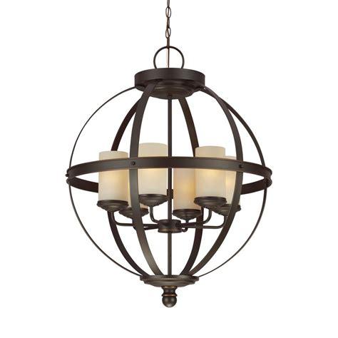 Sea Gull Lighting Sea Gull Lighting Acadia 6 Light Misted Bronze 1 Tier Chandelier 31146 814 The Home Depot