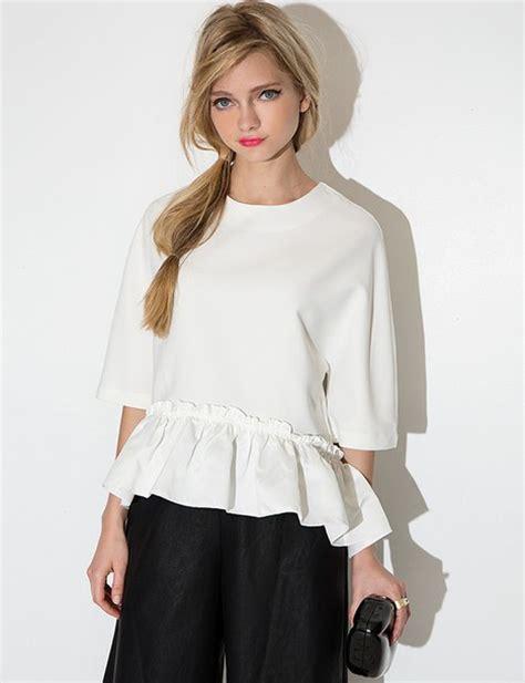 Ruffle Korea Top Blouse blouse white summer summer blouse blouse white