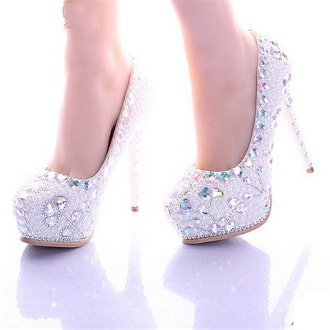 Rhinestone Wedding Shoes by White Pearl High Heel Shoes Platform Bridal