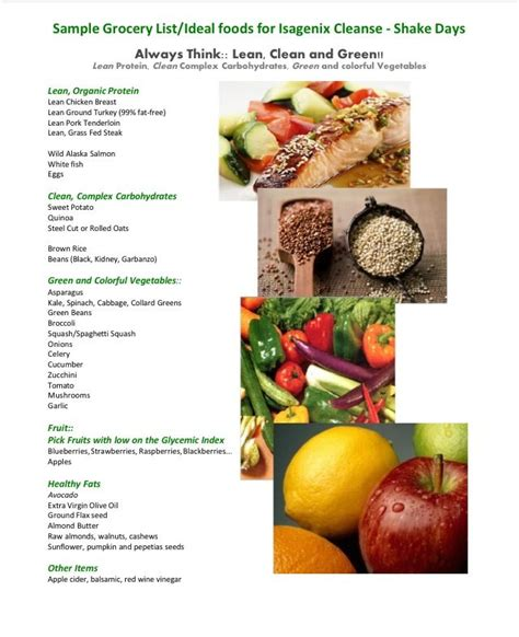 Lifetime Detox Food List by Sle Grocery List Ideal For Isagenix Shake Days