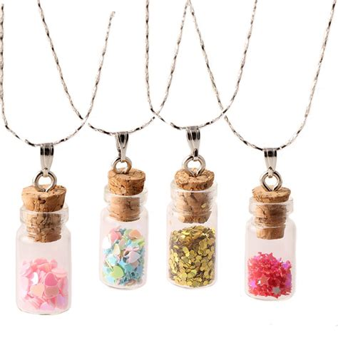 silver plated necklace wishing bottle glass necklaces