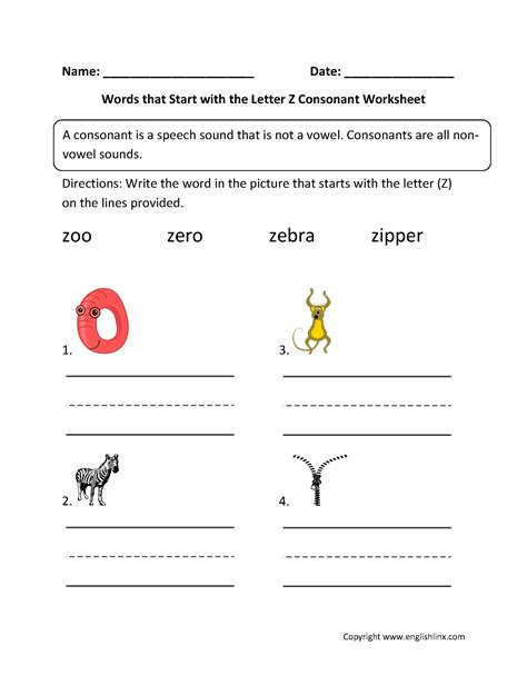 words with the letter z phonics worksheets consonant worksheets 1743