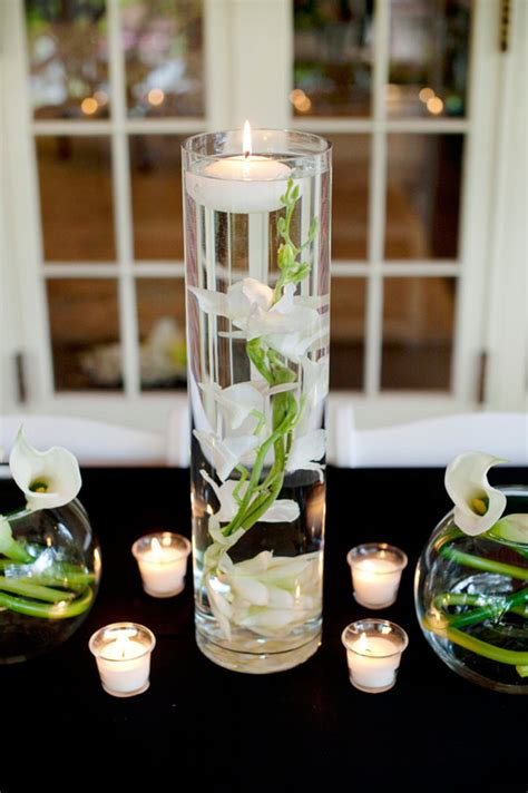 dendrobium orchid and white submersible centerpiece afloral wedding