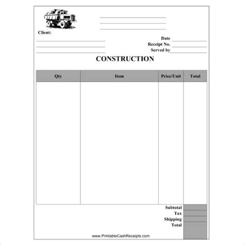 contractor receipt template free 17 construction receipt templates free word pdf formats