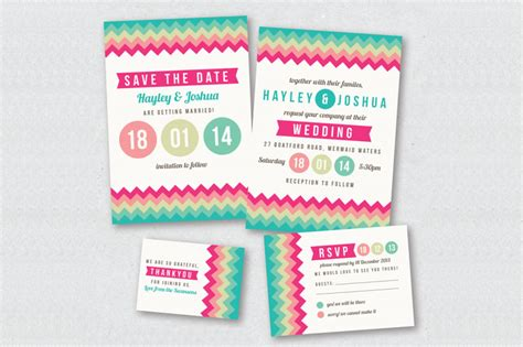 colorful chevron wedding invitation invitation templates