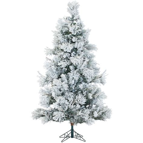 ffsn075 5sn fraser hill farm 7 5 ft flocked snowy pine tree with clear led lighting