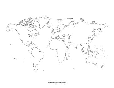 printable empty world map blank world map